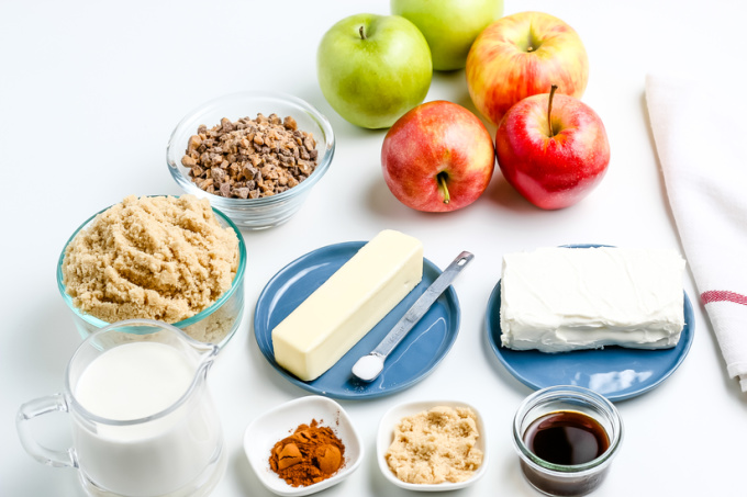 All of the ingredients needed to make cream cheese caramel apple dip.