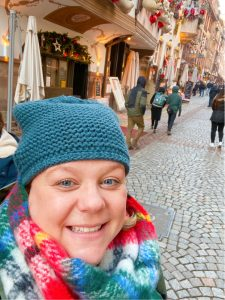Jillian outside Le Gruber restaurant in Strasbourg, France.