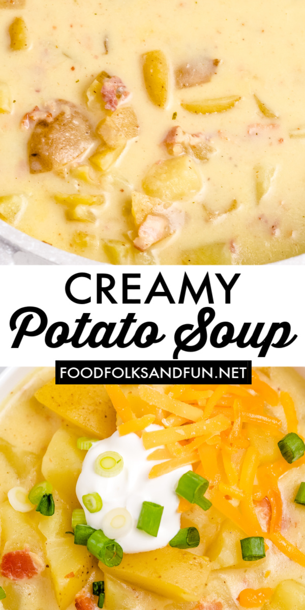 This Thick and Creamy Potato Soup recipe is the definition of comfort food! It's made with golden potatoes, bacon, half-and-half, and seasonings.  via @foodfolksandfun