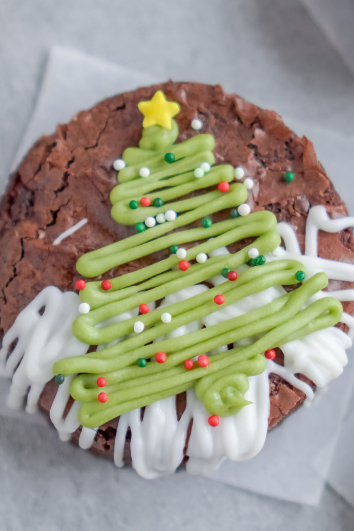 A close up picture of a finished Christmas Tree Brownies.