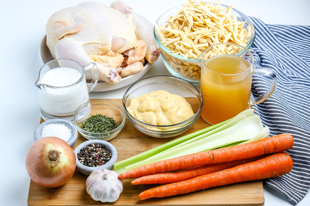 All of the ingredients needed to make Old Fashioned Chicken and Noodles.