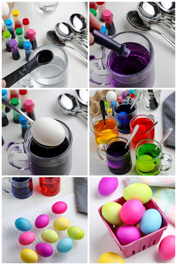 A picture collage showing how to dye Easter eggs without a kit.