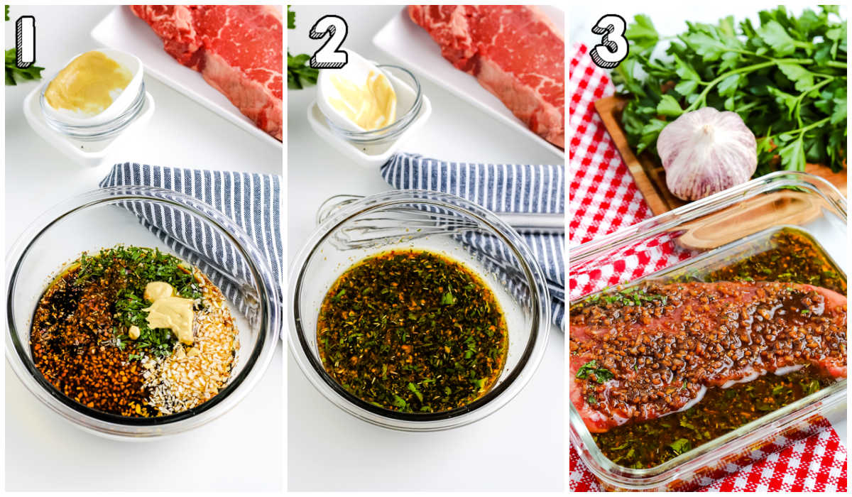 Step-by-step pictures of how to make steak marinade for grilling.