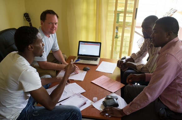 Andy working with the team on the Database
