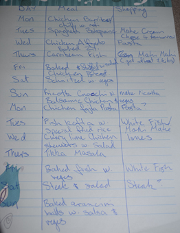 The meal plan at the beginning of the fortnight