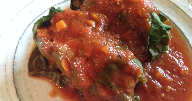 Stuffed Rainbow Chard Rolls with a Simple Garden Veggie & Tomato Sauce ((with a BONUS extra meal))