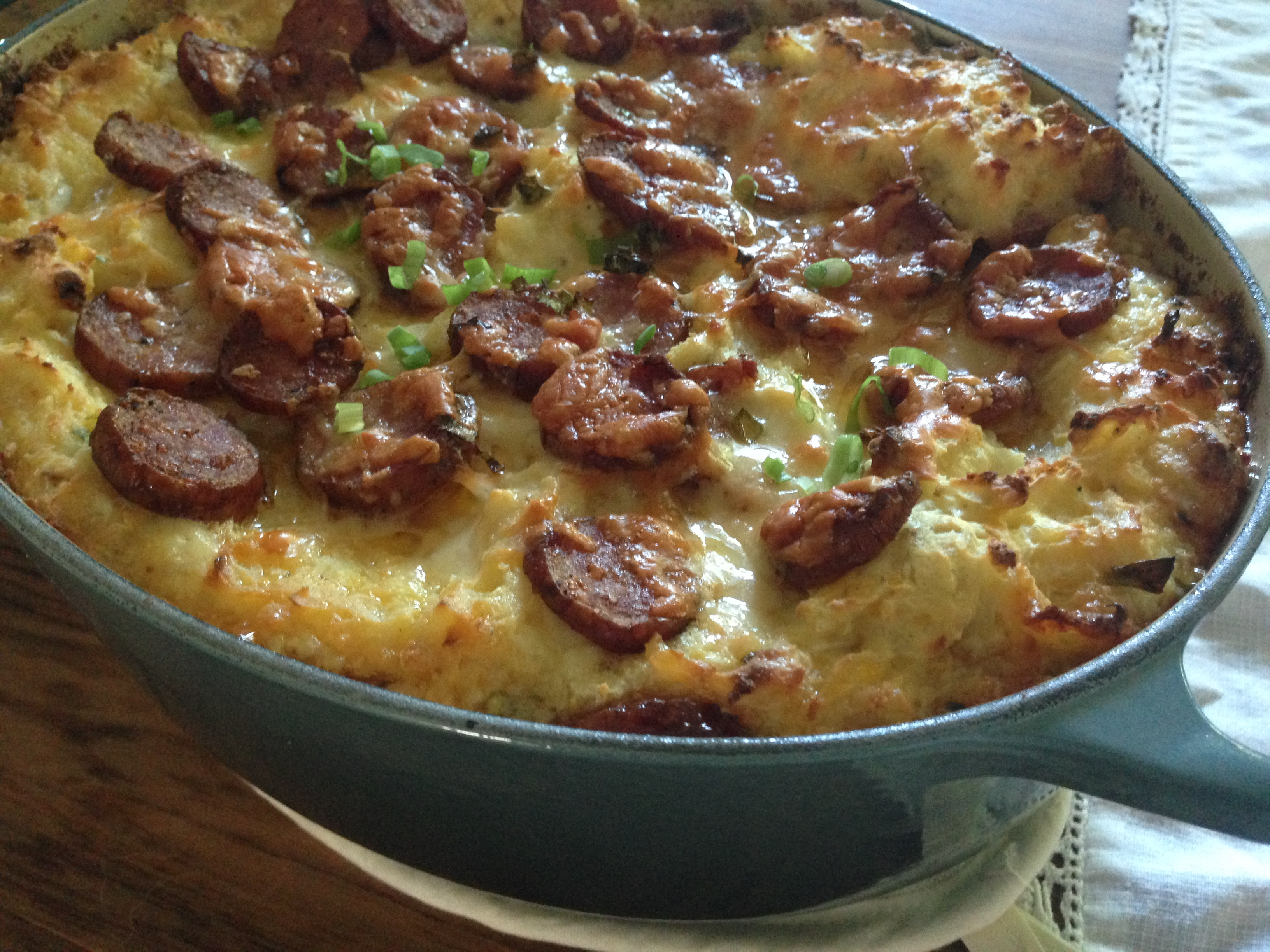 Sweet Smoked German Sausage & Cheesy Green Onion ((carrot)) Mashed Potato Casserole