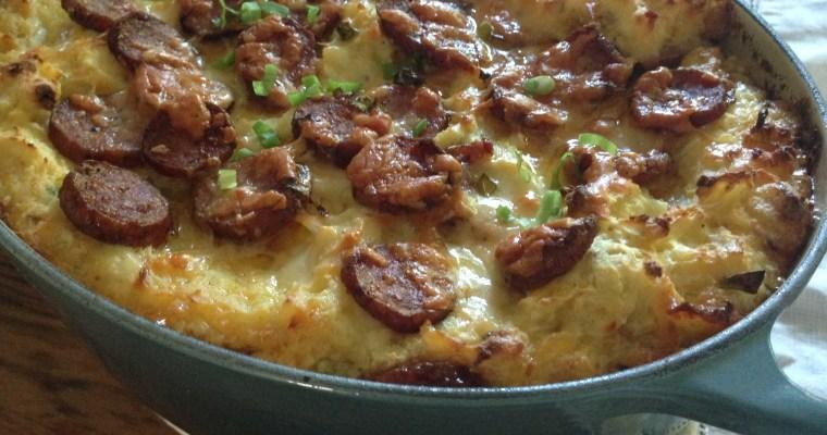 Sweet Smoked German Sausage & Cheesy Green Onion ((carrot)) Mashed Potato Casserole