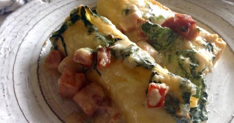 Crispy Ham & Dinosaur Kale Topped Cheesy Manicotti