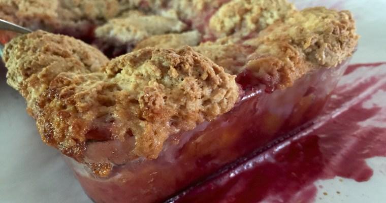 Peach & Plum Cobbler with Cinnamon Sugar Dumplings
