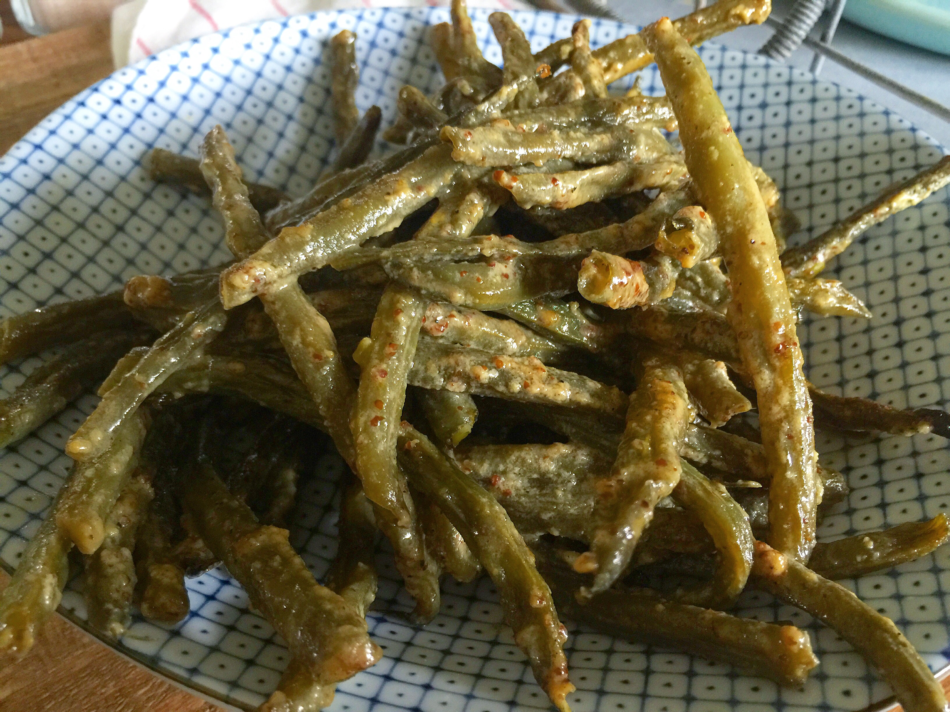 Oven Roasted Green Beans Tossed in Sweet & Spicy Mustard