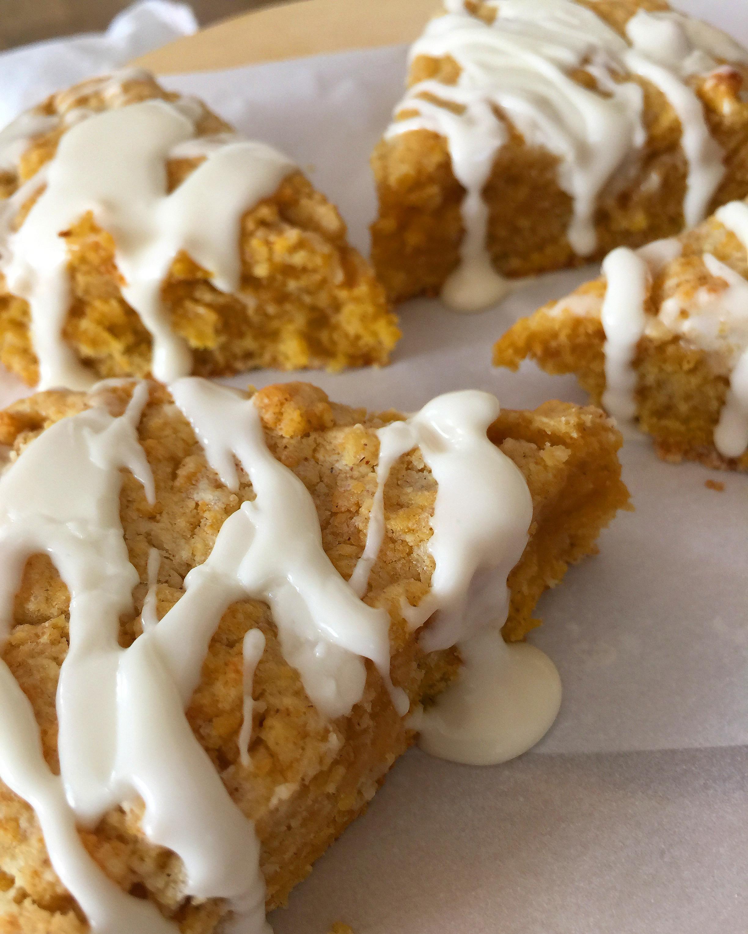 Pumpkin Butter Scones w/ Marshmallow Fluff Buttercream