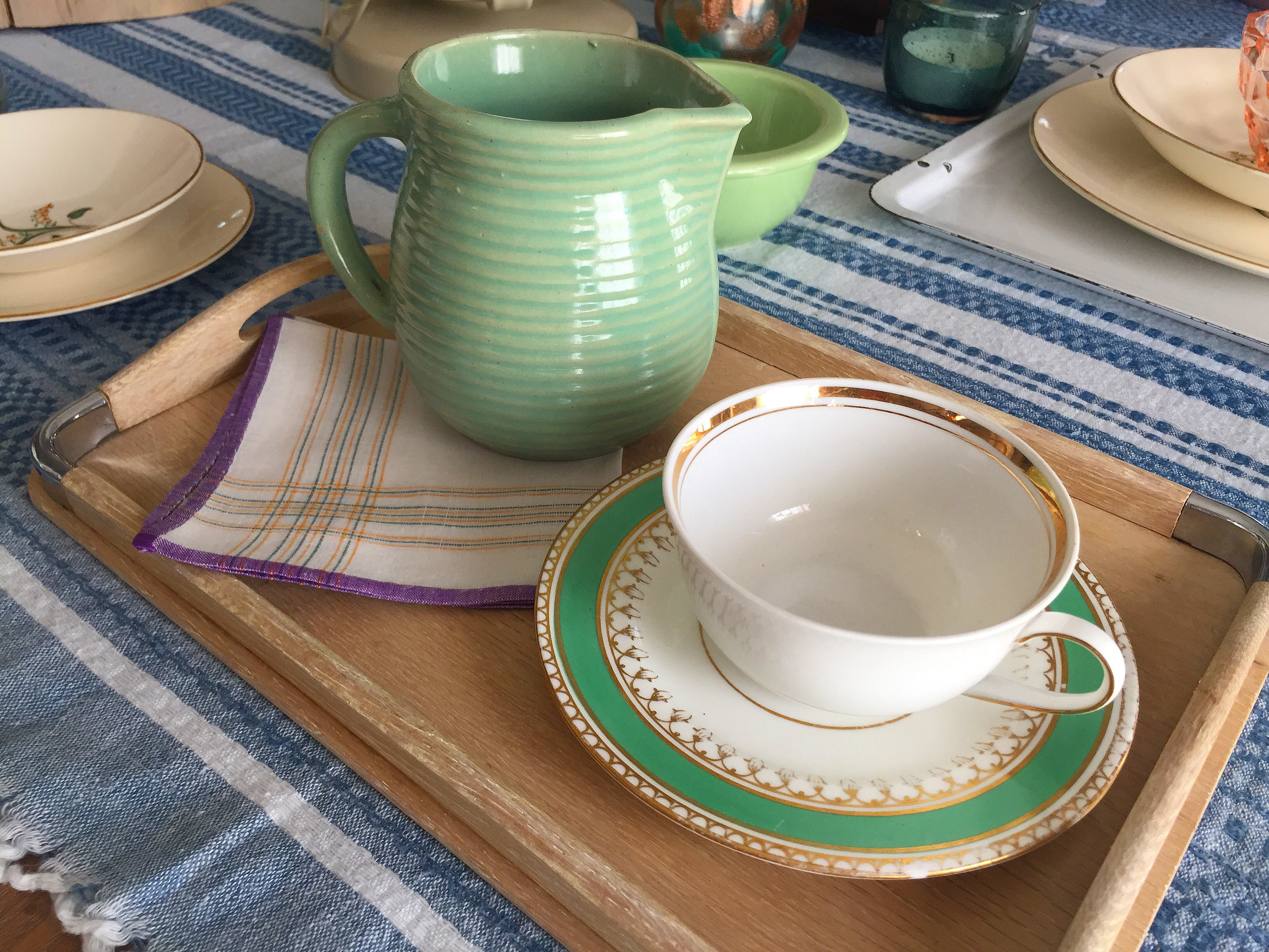 FOR SALE ((By Emily)) :: Vintage Mint Blue-Green Beehive Monmouth Jug ((4.5″ x 4″) – $40