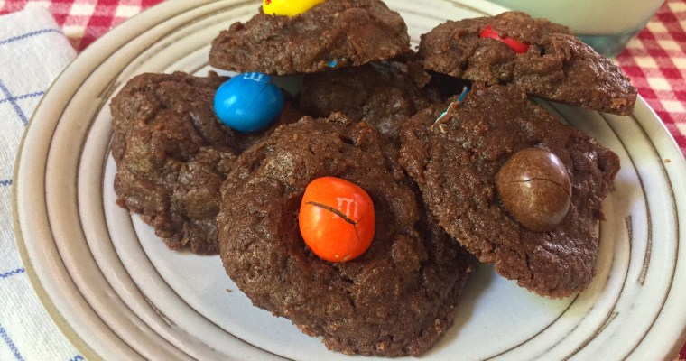 Chocolate Chocolate Chip Cookies + Caramel M&M's
