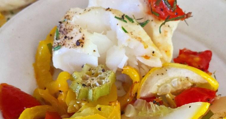 Sheet Pan Norwegian Cod w/ Roasted Summer Garden Veggies