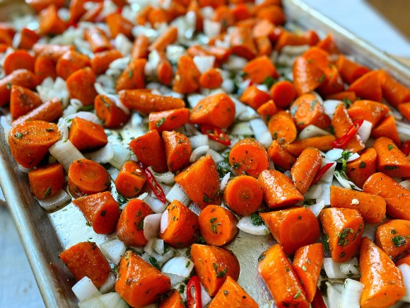 oblique cut carrots - sheet pan