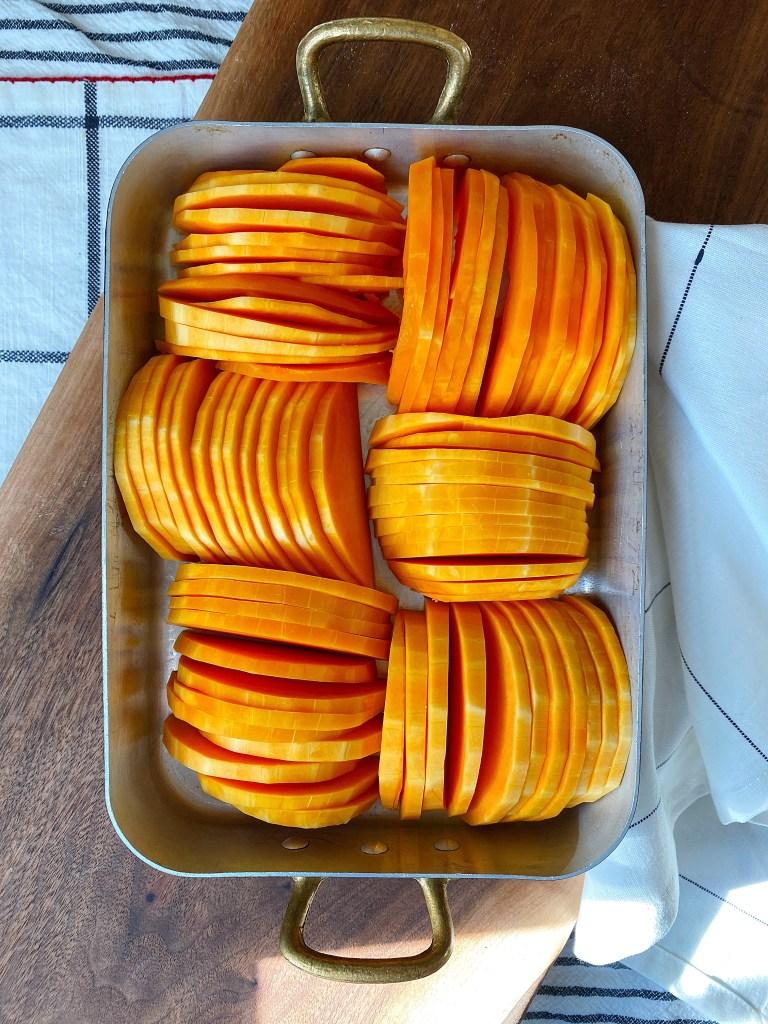 arranged squash slices