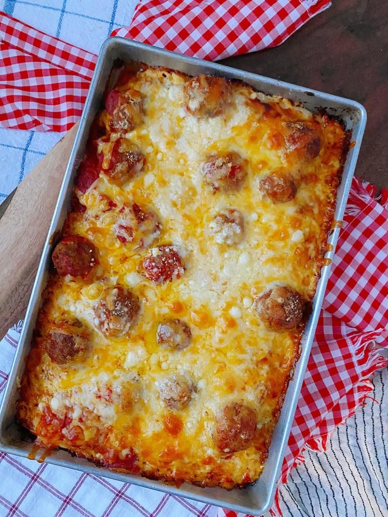 baked deep dish meatball pizza