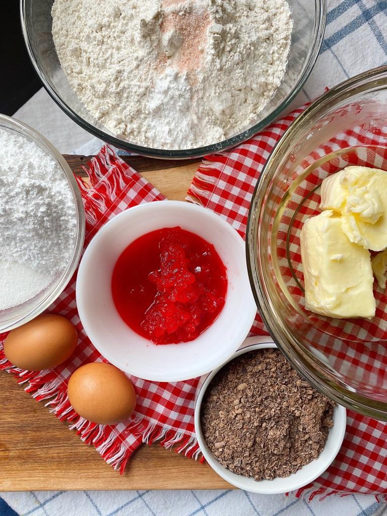 cherry chip sugar cookie ingredients flat lay