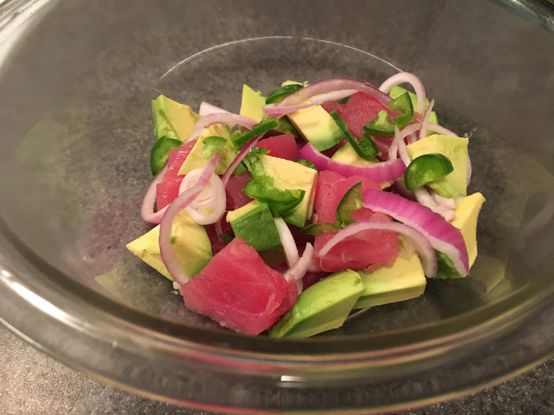 Onion, avocado and tuna poke
