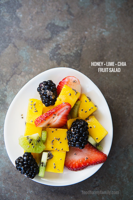 Honey Lime Chia Fruit Salad #recipe via FoodforMyFamily.com
