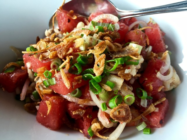 Laotian Watermelon, Chicken and Prawn Salad | Tamarind Springs | Food For Thought
