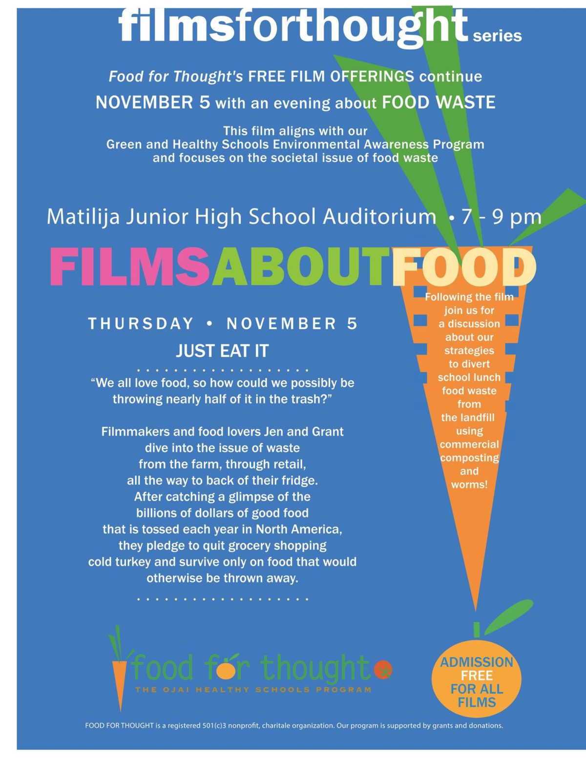 """11/5/15 : """"Just Eat It"""" Free Film Viewing"""