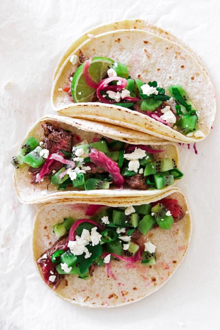 Beef Tacos with Kiwi Salsa