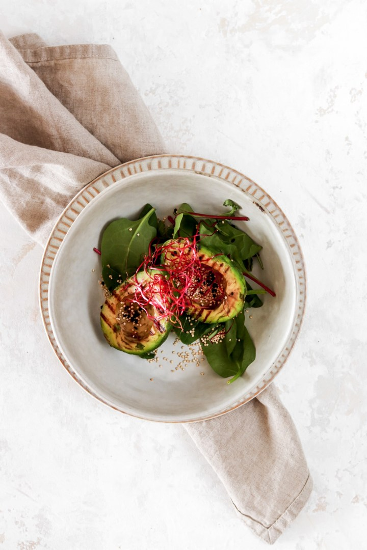 Grilled Avocado with Roasted Quinoa (Vegan & Gluten Free)