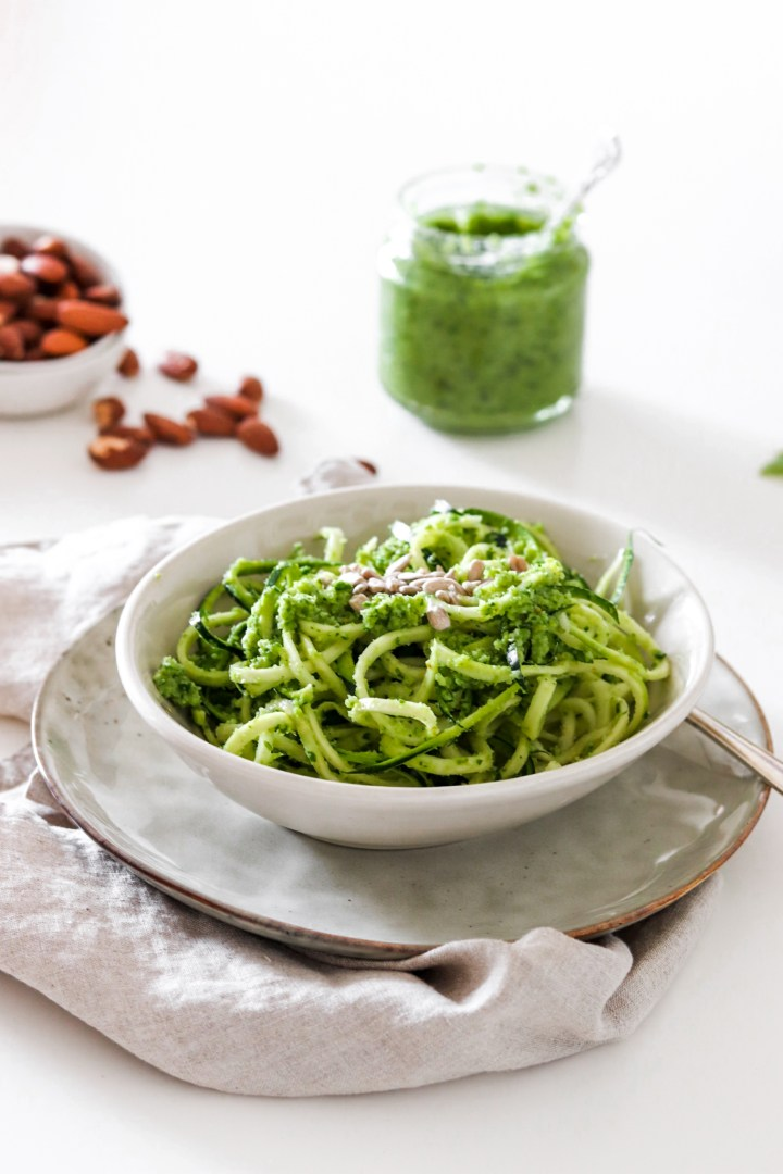 Zoodles with Broccoli & Almond Pesto