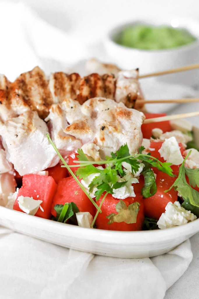 Chicken Skewers with Watermelon & Feta Cheese (Gluten, Grain Free & Low Carb) From Front