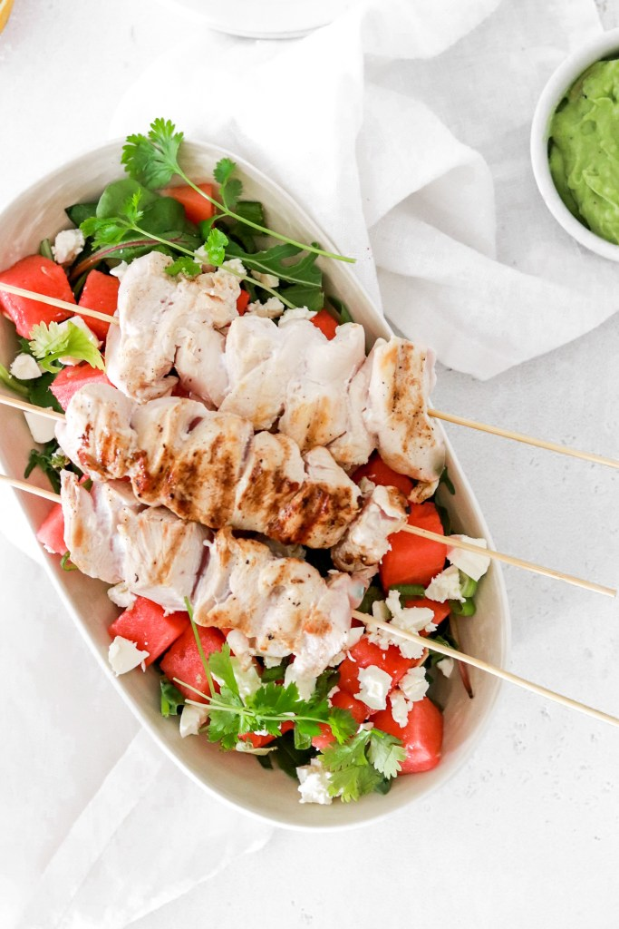 Chicken Skewers with Watermelon & Feta Cheese (Gluten, Grain Free & Low Carb) From Above