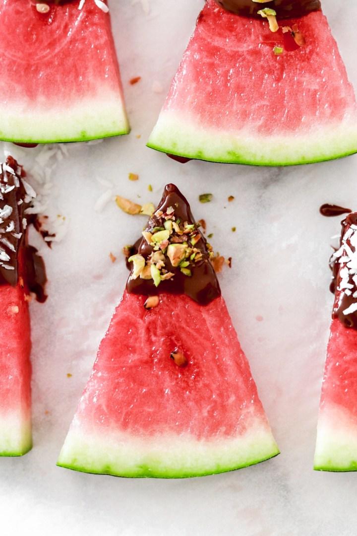 Chocolate Covered Watermelon Bites