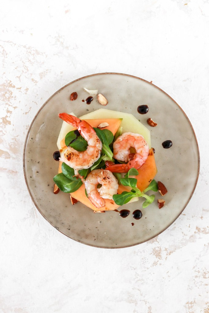 Melon & Scampi Salad (Gluten, Grain Free & Low Carb) From Above