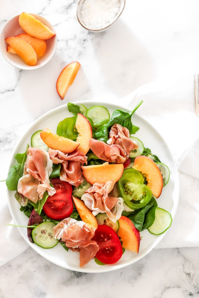 Prosciutto & Peach Salad (Gluten, Grain Free & Low Carb) From Above