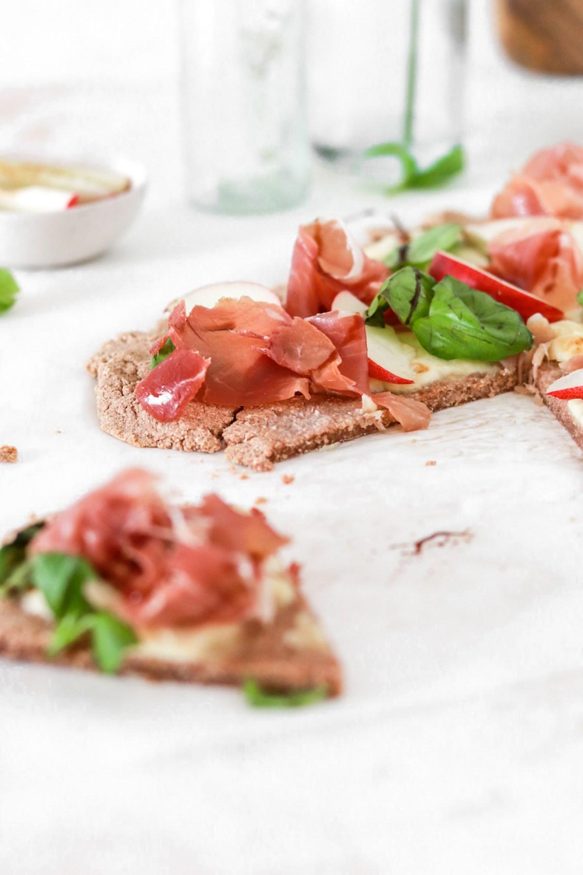 Prosciutto & Peach Flatbread Pizza From Front