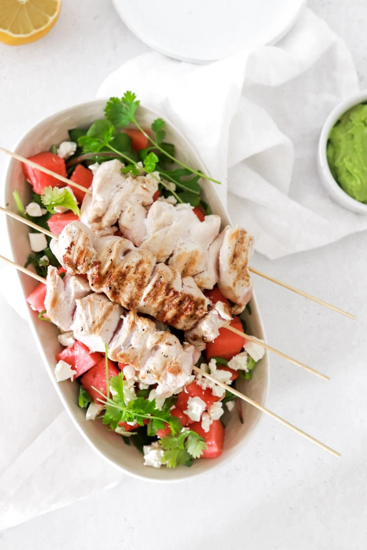 Chicken Skewers with Watermelon & Feta Cheese
