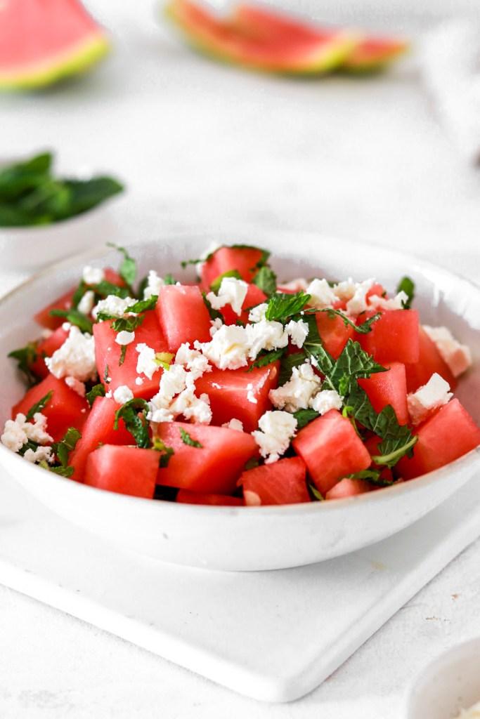 Watermelon & Feta Cheese Summer Salad Close Up