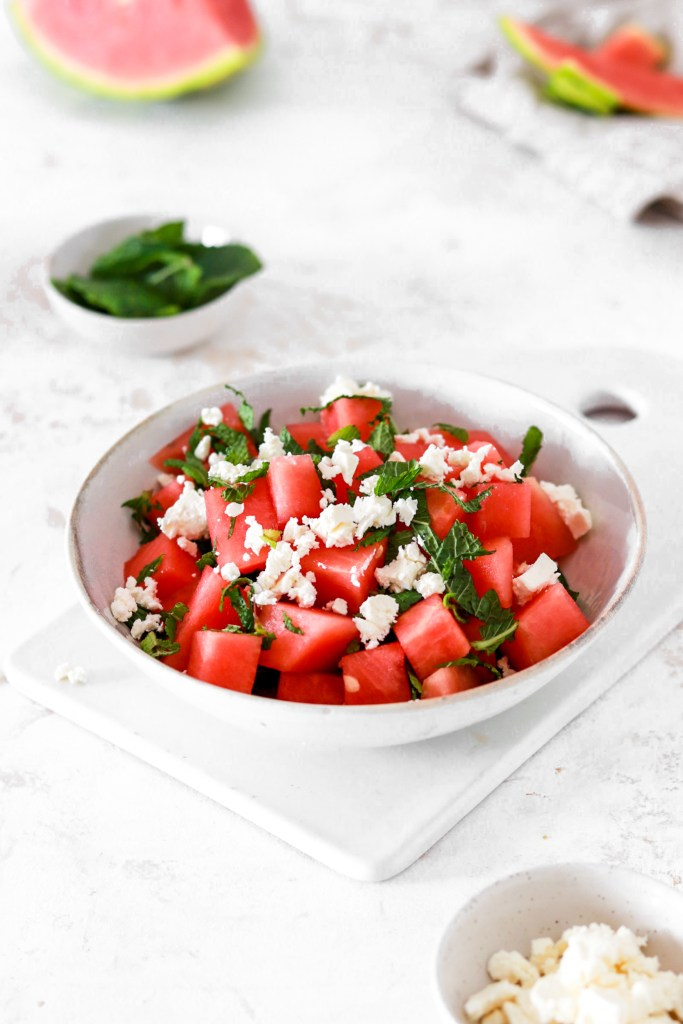 Watermelon & Feta Cheese Summer Salad From Front