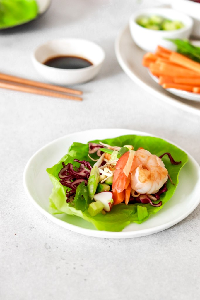 Asian Style Salad Cups with Prawns (Gluten, Grain Free & Low Carb) From Front