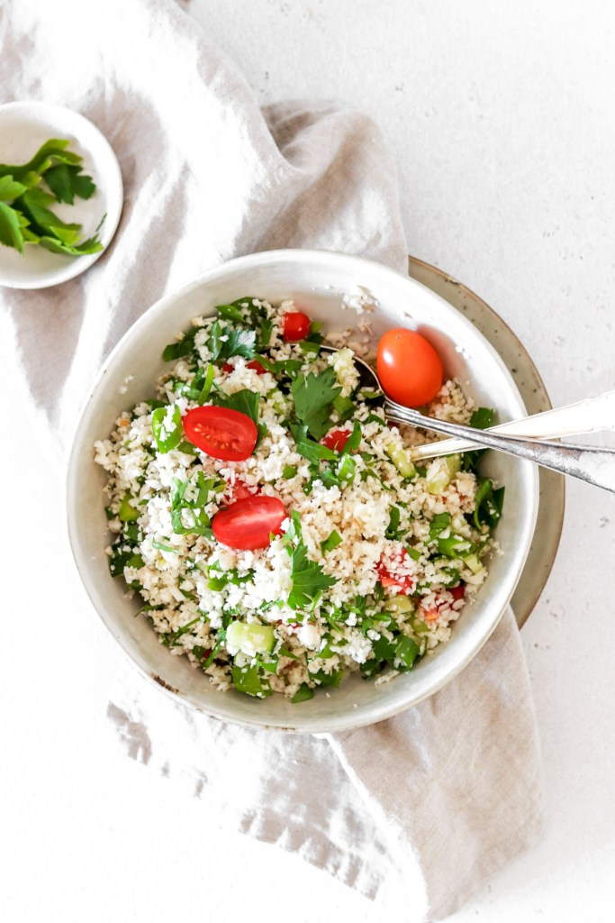 Cauliflower Tabbouleh (Vegan, Gluten, Grain Free & Low Carb) From Above Close Up