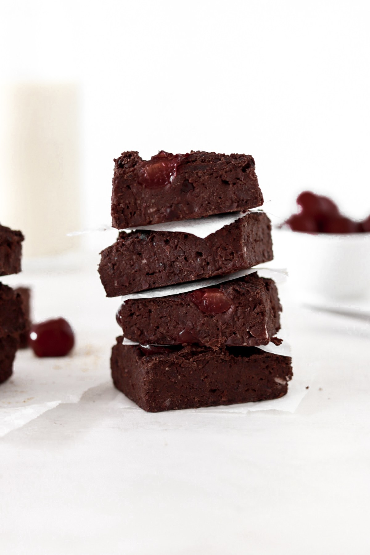 Fudgy Black Bean Cherry Brownies (Vegan, Gluten, Sugar, Oil Free) Stacked From Front