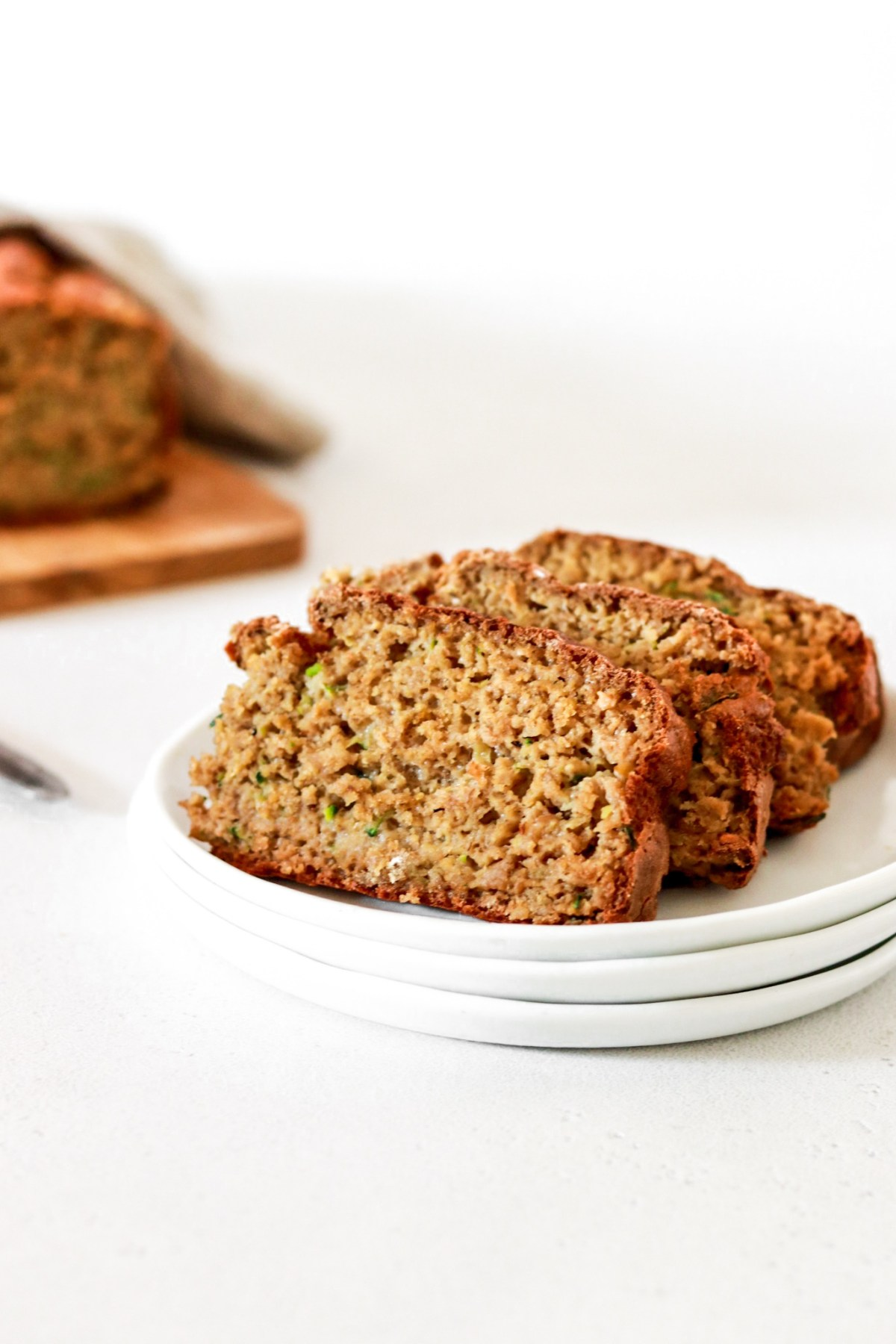 Zucchini Bread (Gluten, Sugar, Oil Free) From Front Sliced
