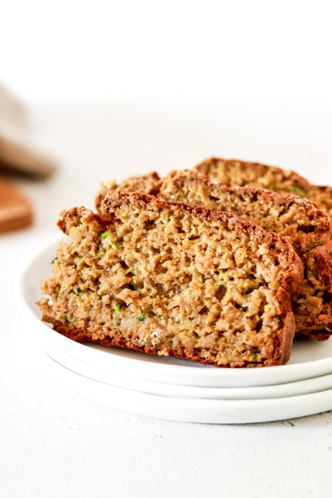 Zucchini Bread (Gluten, Sugar, Oil Free) From Close Up Sliced on a Plate
