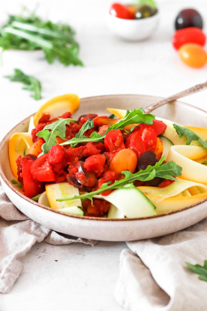 Zucchini Pappardelle with Tomato & Vegetable Sauce (Vegan, Gluten, Grain Free & Low Carb) From Front