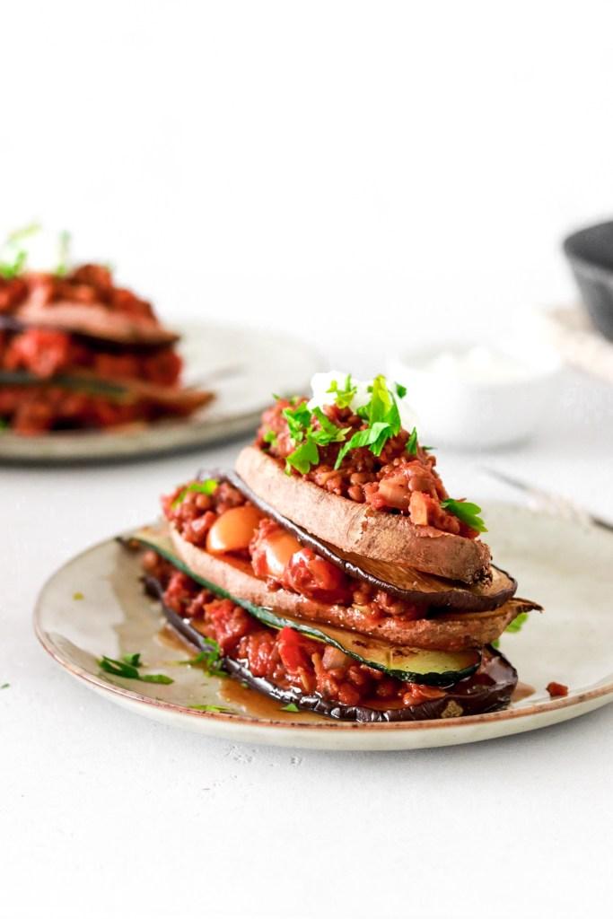 Open Lentil Moussaka (Vegan & Oil Free) from front