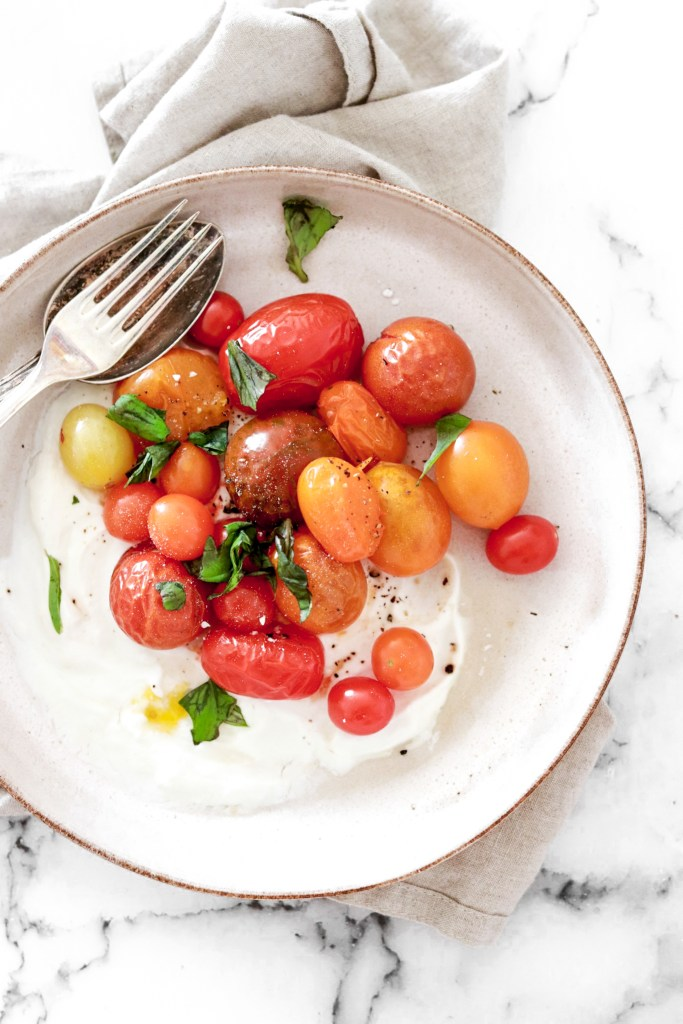 Roasted Tomatoes on a Feta Yogurt Bed (Gluten, Grain, Oil Free & Low Carb) From Above Close Up