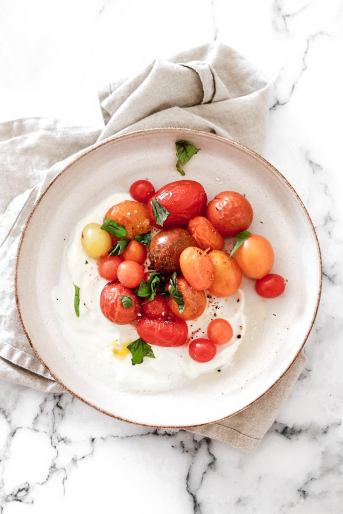 Roasted Tomatoes on a Feta Yogurt Bed (Gluten, Grain, Oil Free & Low Carb) From Above