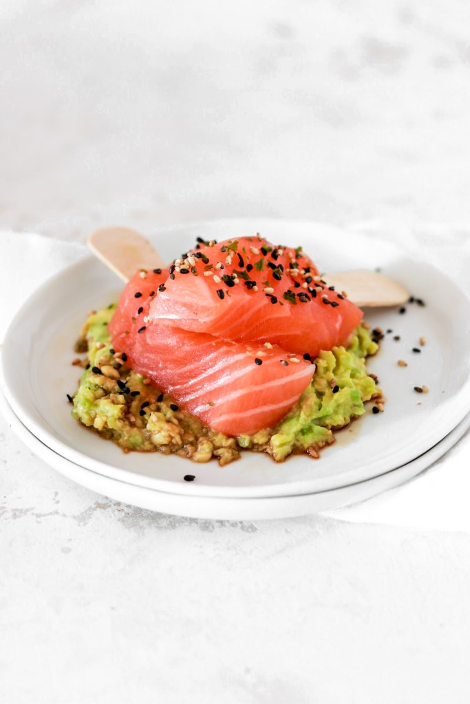 Salmon Sashimi Popsicle with Avocado Cream (Gluten, Grain Free & Low Carb) From Front