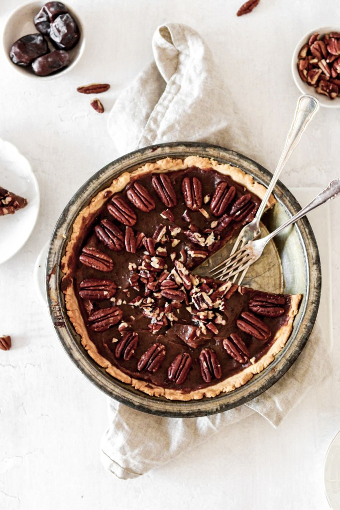 Salted pecan pie from above
